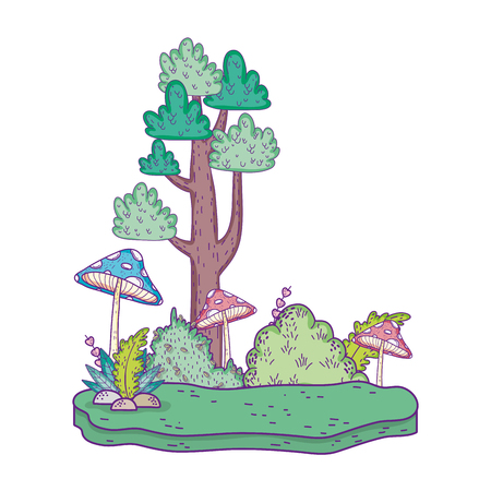 beautiful forest and fungus landscape  scene Ilustração