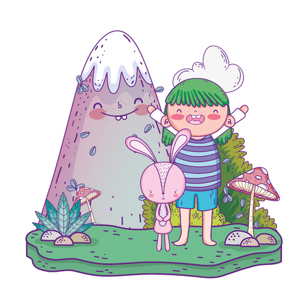 little rabbit with girl in the landscape vector illustration design