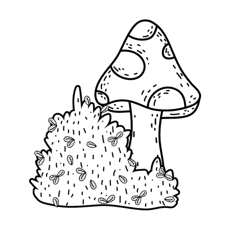 cute fungus with bush fairytale icon vector illustration design Illusztráció