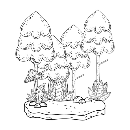 beautiful forest and fungus landscape scene vector illustration design