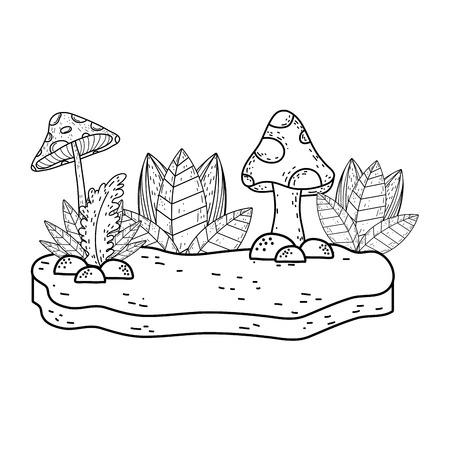 beautiful garden bush and fungus landscape scene vector illustration design