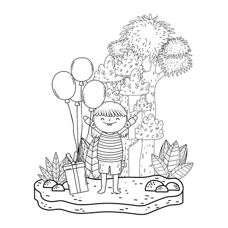cute little girl with gift and balloons helium in the landscape vector illustration design