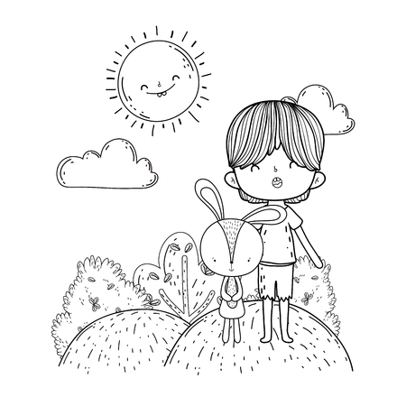 little rabbit with boy in the landscape vector illustration design