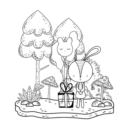 little rabbit with gift and balloons helium in the landscape vector illustration design