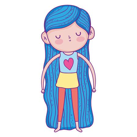 little girl with swimwear character vector illustration design
