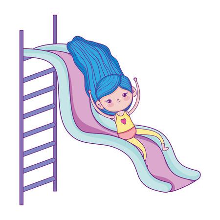 little girl with swimwear on slide vector illustration design