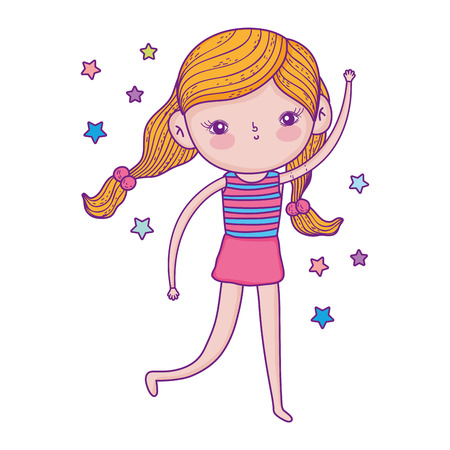 little girl with swimwear and stars vector illustration design Illustration