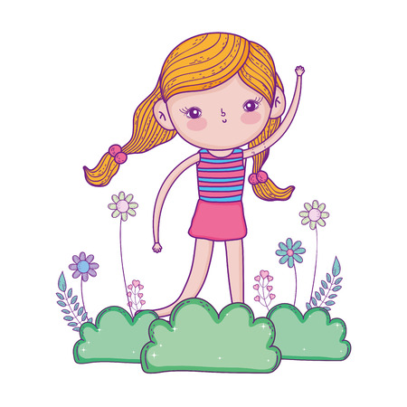 little girl in the garden with flowers vector illustration design