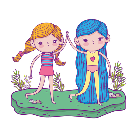 little girls with in the garden characters vector illustration design Vetores