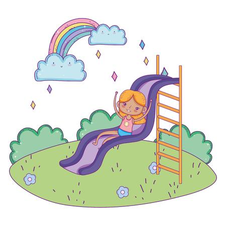 little girl with swimwear on slide in the park vector illustration design