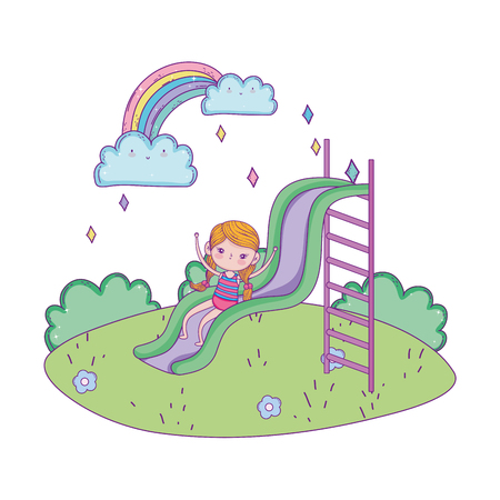 little girl with swimwear on slide in the park vector illustration design