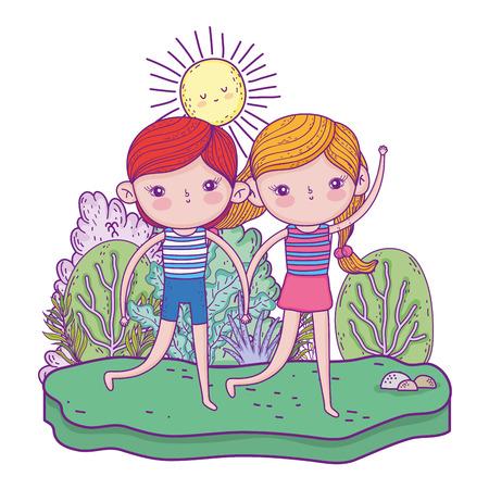little kids in the garden charactersvector illustration design Stockfoto - 125062254