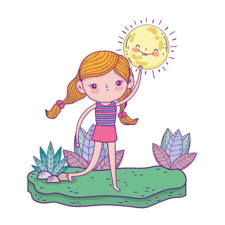 little girl in the garden character vector illustration design