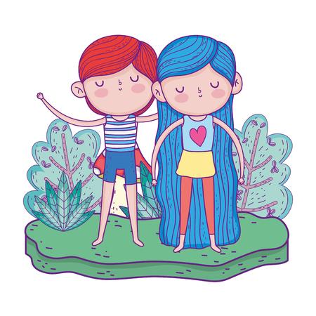 little kids in the garden charactersvector illustration design