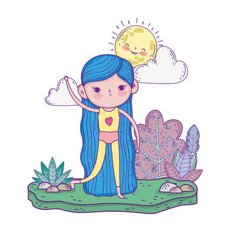 little girl with swimwear in the garden vector illustration design