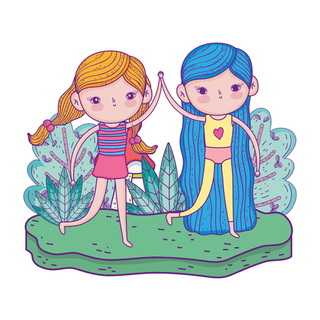 little girls with in the garden characters vector illustration design