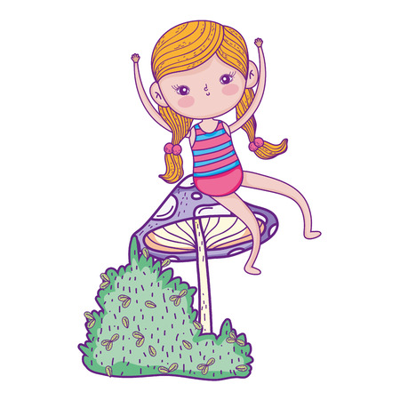 little girl in the garden with fungus vector illustration design