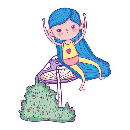 little girl in the garden with fungus vector illustration design Vetores