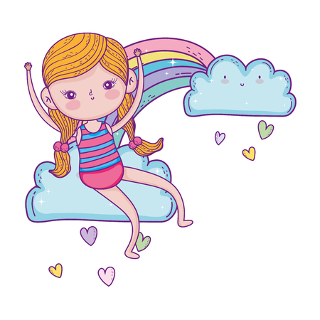 little girl in the rainbow character vector illustration design Ilustração