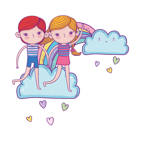 little kids couple in the clouds with rainbow vector illustration design