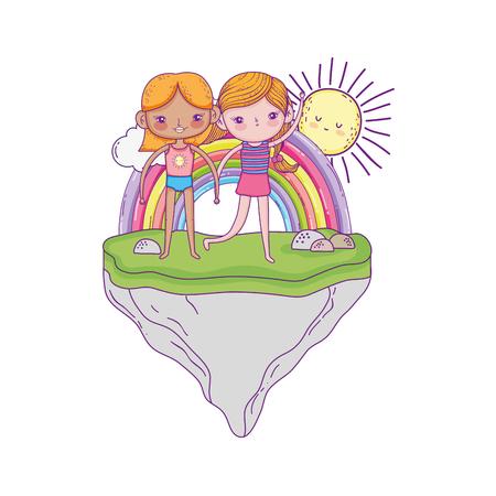 little girls in the garden characters vector illustration design