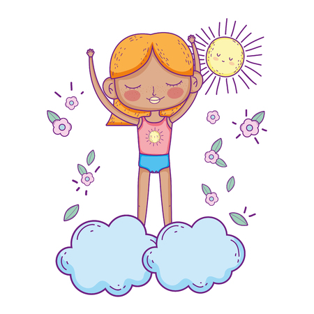little girl in the clouds vector illustration design