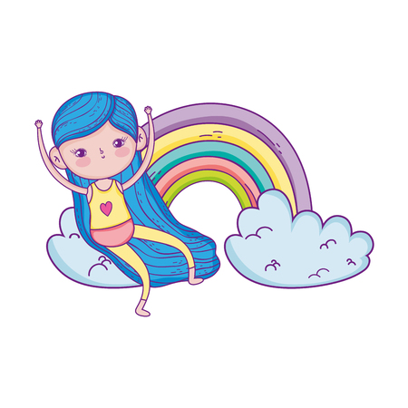 little girl in the rainbow character vector illustration design 向量圖像