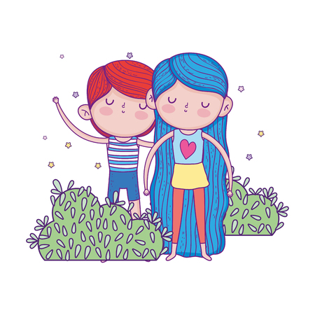 little kids couple in the garden characters vector illustration design Ilustração