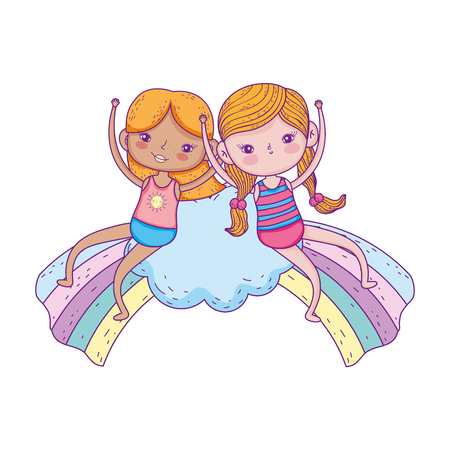 little girls in the clouds with rainbow vector illustration design