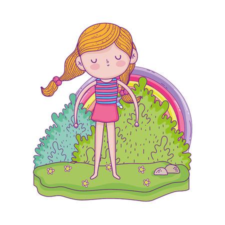 little girl in the garden with rainbow vector illustration design