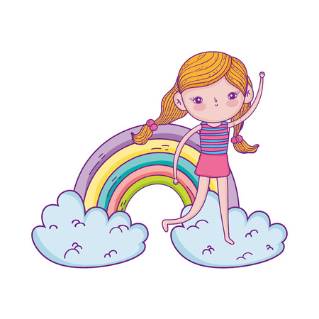 little girl in the clouds with rainbow vector illustration design