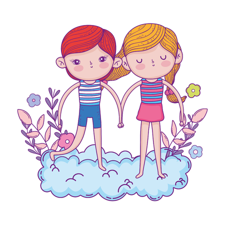 little kids couple in the clouds vector illustration design