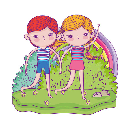 little kids couple in the garden with rainbow vector illustration design
