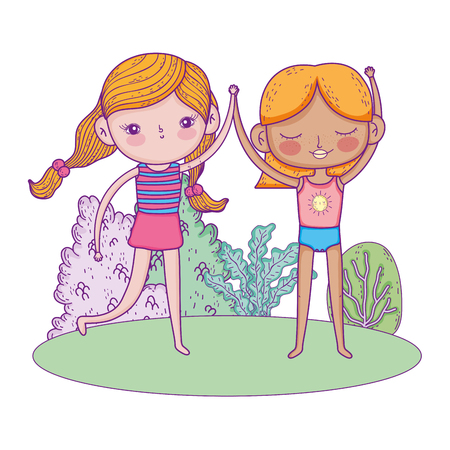 little girls in the garden characters vector illustration design