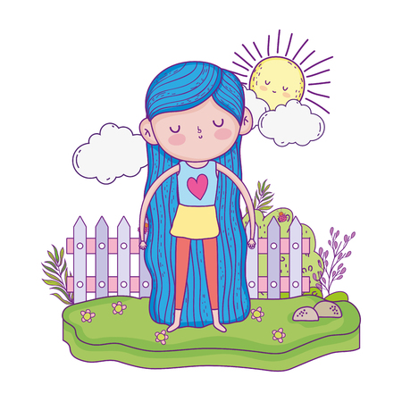 little girl in the garden with flowers vector illustration design