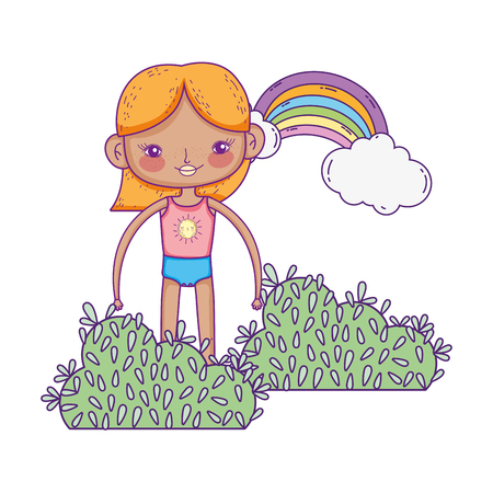 little girl in the garden with rainbow vector illustration design