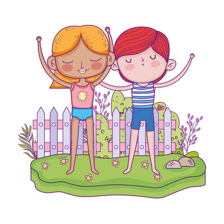 little kids couple in the garden characters vector illustration design 向量圖像