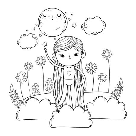 little girl in the garden on the night vector illustration design
