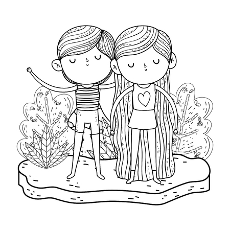little kids couple in the garden characters vector illustration design Stock Illustratie
