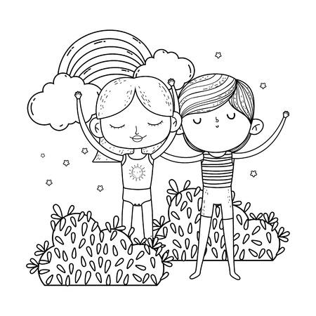 Pareja de niños pequeños en el jardín con diseño de ilustración de vector de arco iris