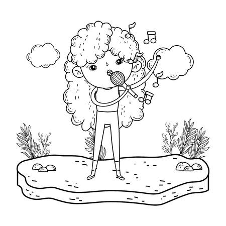 girl singing with microphone in the landscape vector illustration design Illustration