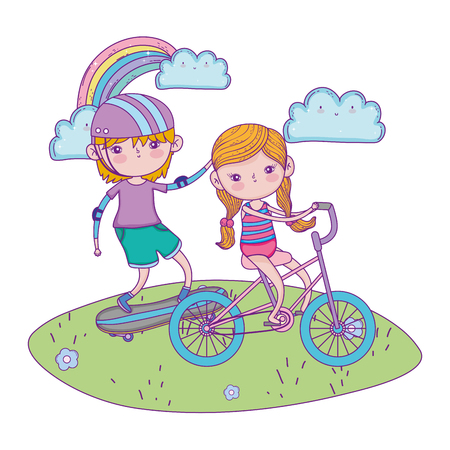 cute little kids mounted in skateboard and bicycle vector illustration design