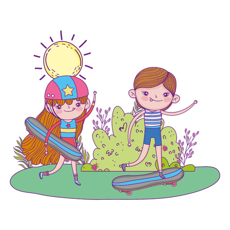 cute little kids mounted in skateboard in the landscape vector illustration design