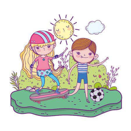 cute little kids in skateboard and playing soccer vector illustration design Vectores