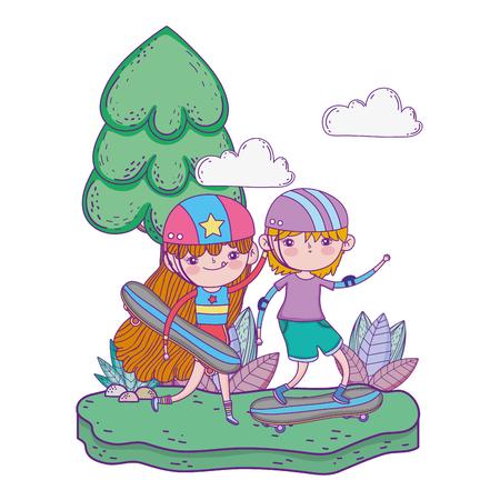 cute little kids mounted in skateboard in the landscape vector illustration design Vektoros illusztráció