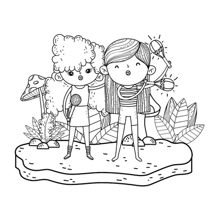 cute little girls playing maracas and sing vector illustration design