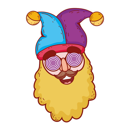 gnome with joker hat fools day character vector illustration design