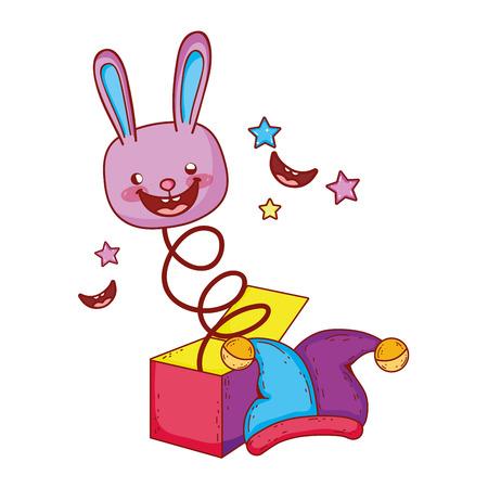 fools day surprise box with rabbit head vector illustration design Ilustración de vector