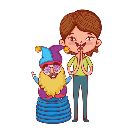 boy and gnome with joker hat fools day characters vector illustration design