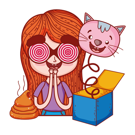 girl with fools day surprise box and cat head vector illustration design Illustration
